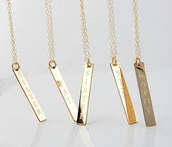 Engraved Necklaces For Her Items Similar To Personalized Nameplate Vertical Gold Bar Necklace
