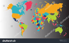 Map Of The Earth World Map Europe Asia North America Stock Illustration 473207773