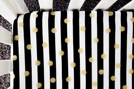 Black And White Crib Bedding Set Gold Foil Polka Dot Fitted Crib Sheet Baby Bedding Crib