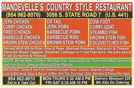 menu at mandeville u0027s country style 3056 south state road 7