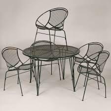 mid century modern mcm wire mesh patio dinette set five