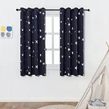 Blockout Curtains For Kids Amazon Com Anjee Navy Blue Star Print Blackout Curtains For Kids