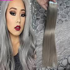 silver hair extensions silver gray hair extensions seamless remy 100g in human