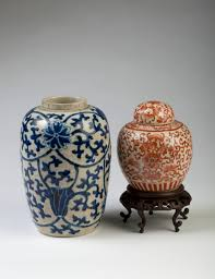 Chinese Blue And White Vase Chinese Crackle Glazed Blue And White Vase And A Crackle Glazed