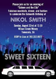 sweet 16 limo birthday party invitations candles and favors