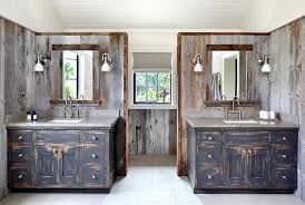 Distressed Wall Cabinet Rustic Country Bathroom With Black Distressed Washstands Country