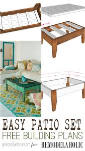 remodelaholic build an easy patio set with benches and a coffee