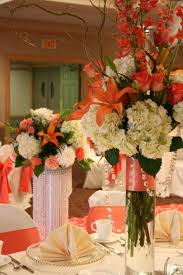 tall flower arrangement coral flower arrangement coral color