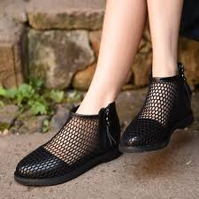 Comfortable Ankle Boots Black Comfortable Shoes Mesh Ankle Fashion Boots For Girls For