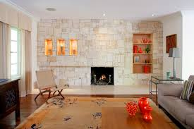 the fireplace wall features a dry stacked stone facade with built