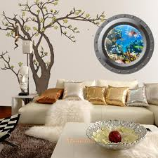 Fish Home Decor 3d Fish Ocean Porthole Window Stickers Decals Bathroom Home Art