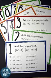 add and subtract polynomials stations maze activity maze
