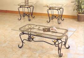 glass top coffee tables wrought iron base steve silver lola 3