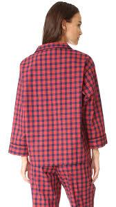 tartan vs plaid sleepy jones washed plaid marina pajama shirt shopbop