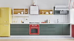 kitchen scandinavian kitchen features charcoal counter with red