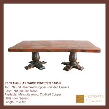 rectangular dining table wood pedestal natural finish copper