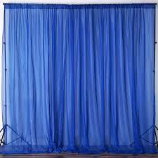 Blue Sheer Curtain 10ft Retardant Royal Blue Sheer Curtain Panel Backdrops