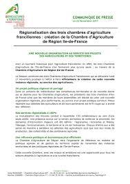 chambre d agriculture idf novembre 2017 création de la chambre d agriculture de région ile