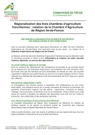 chambre agriculture idf novembre 2017 création de la chambre d agriculture de région ile