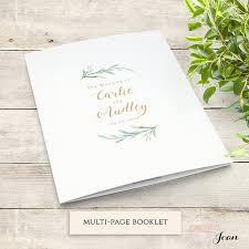 wedding program booklets greenery booklet wedding program template order of service