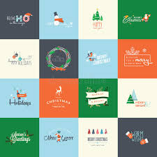 set of flat design elements for christmas and new year greeting
