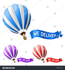balloon deliver hot air balloon delivery icon stock vector 70555282