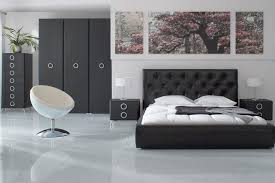 Black Upholstery Leather Bedroom Luxurious Interior Small Bedroom With Elegant Black