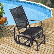 Wicker Rattan Patio Furniture - outsunny rattan patio glider rocking chair swing seat wicker