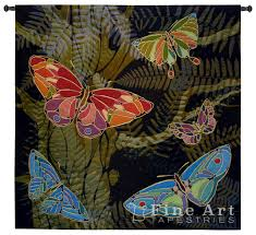 woodland butterfly tapestry wall hanging abstract botanical