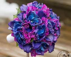 Hydrangea Wedding Blue Orchid Wedding Bouquet Purple Hydrangea Wedding Bouquet