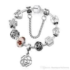 bracelet pandora murano images Silver plated fit pandora bracelets murano glass beads pink floral jpg
