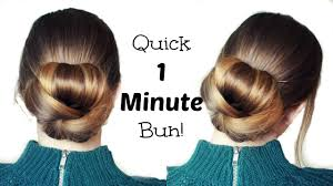 Long Hairstyles Easy Updos by Quick And Easy 60 Second Bun Hairstyle Updo Easy Hairstyles
