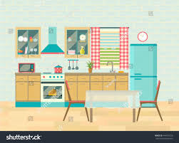 kitchen interior cozy home food cooking stock vector 444976720