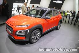 hyundai kona front three quarters at iaa 2017 indian autos blog