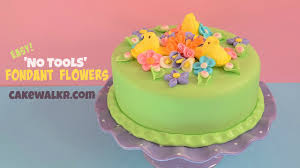 how to make fondant flower cake decorations without tools youtube