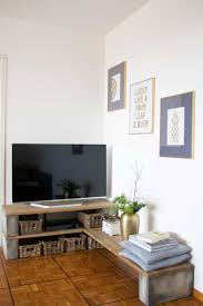 Concrete Block Floor Plans Diy Tv Stand Using Concrete Foundation Blocks And Planks Of Wood