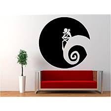nightmare before and sally vinyl wall