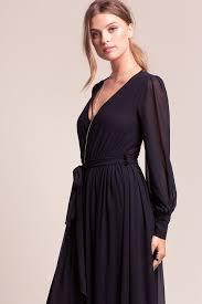 memdalet black long sleeve chiffon wrap maxi dress 59 free