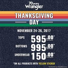 wrangler s thanksgiving day sale from november 24 26 2017