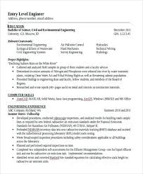 sample civil engineering resume entry level ready to graduate