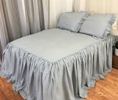 Blue Linen Bedding - duck egg blue bed cover with ruffle fall handcrafted by superior