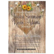Wedding Invitations With Free Rsvp Cards Love Heart Wildflowers Rustic Wedding Invitation