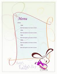 menu template easter menu office templates