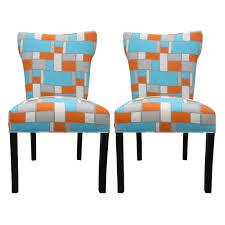 orange dining room chairs kitchen modern bella hopscotch orange blue upholstered dining