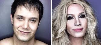 guy transforms his face with makeup to look like female hollywood celebrities