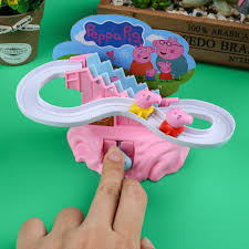 peppa pig amusement electric climb stairs track set toy playset