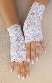 free ship white wedding gloves french lace gloves bridal gloves