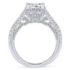 princess cut white gold engagement rings damiana 18k white gold princess cut halo engagement ring