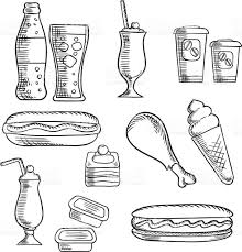 fast food with dessert and drinks sketch icons stock vector art