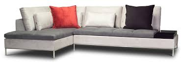 Red Bed Cushions L Grey Fabric Sofa Sectional Bed With Stainless Steel Bases And